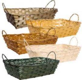 Retangular bamboo basket with handles