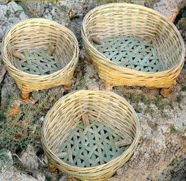 Round bamboo basket set 3