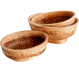 Oval bamboo basket set 3